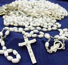 MRT Rosary BULK Wholesale Lot of 10 White Bead Miraculous Mary Gift 18""