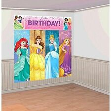 DISNEY PRINCESS SCENE SETTER Happy Birthday Party Wall Decoration Decor Backdrop