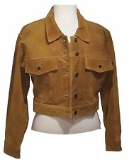 SCULLY Brown Leather Cropped Jacket Womens Size 10 Medium