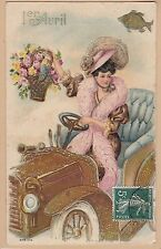 Antique Embossed French 1er Avril Postcard - Pretty Lady, Big Hat, Driving Car