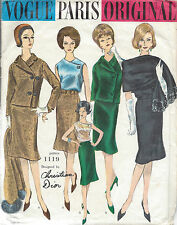 1960s Vintage VOGUE Sewing Pattern B34 SUIT JACKET SKIRT BLOUSE SCARF(1382) Dior