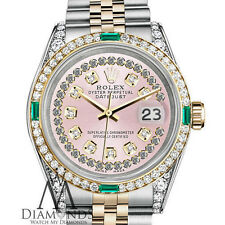 Ladies Rolex Steel and Gold 26mm Datejust Watch Pink String Emerald Diamond Dial