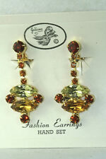 VTG YET BRAND NEW ON ORIGINAL CARD JULIANA DANGLING COLORED RHINESTONE EARRINGS