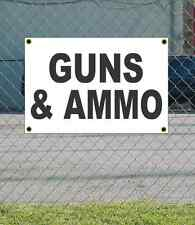 2x3 GUNS & AMMO Black & White Banner Sign NEW Discount Size & Price FREE SHIP