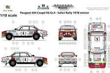 [FFSMC Productions] Decals 1/18 Peugeot 504 Coupé V6 Gr4 Safari Rally '78 Winner