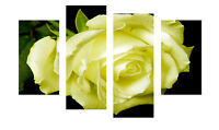 "LARGE YELLOW ROSE FLOWER CANVAS WALL A PICTURES SPLIT MULTI 4 PANEL 40"" X 28"""