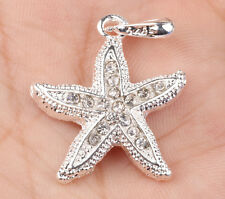 925 Sterling Silver plated sea star CZ pendant necklace creative couple KL191