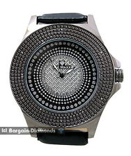 mens gunmetal black diamond watch ice out business hip hop clubbing bling dial