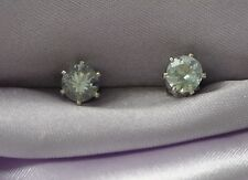 5MM  ROUND LIGHT BLUE AQUAMARINE EARRINGS-- 1.00 CTW -- .925 STERLING SILVER