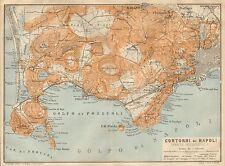 1912 BAEDEKER ANTICO MAPPA-ITALIA-CONTORNI DI NAPOLI, parte occidentale, Pozzuoli, NA