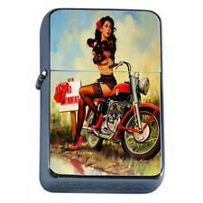 Windproof Refillable Fliptop Oil Lighter Retro Vintage Model Pin Up Girl D-181