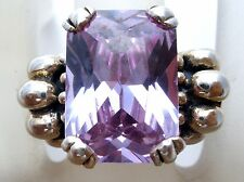 Sterling Silver Ring with Purple CZ Size 7 Emerald Cut 6 Carat Cubic Zirconia