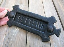 Old Reclaimed Wrought Iron Gothic Letter Box Plate / Mail Slot
