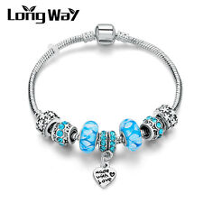 Love Silver Plated Blue Murano Crystal  Beads Vintage Charms Bracelet for Wife