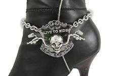 Women Silver Metal Chain Boot Bracelet Shoe Charm Anklet Live To Ride Bike Skull
