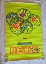 Original Vintage 1968 Mexico City Olympics Poster Birds Print Games Trees Large