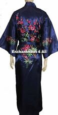 Handmade Embroidered FLORAL Design Silk Satin Long Kimono Robe w/ Waist Tie Blue