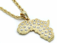 """Mens 14k Gold Plated Africa Continent Big Cz Necklace 24"""" 4mm Rope Chain"""
