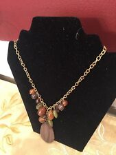 Wooden Piece/colored Stones In A Golden Metal Necklace