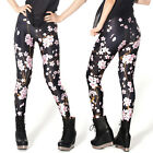 Ladies Cherry Blossom matt leggings - 6 - 16 UK, floral, japan, flowers Black