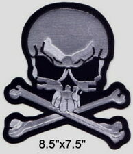 "Large Pirate Skull/X (W) Embroidered Patch 8.5""x7.5"""