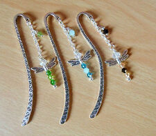 DRAGONFLY bookmark silver plated BEADED glass blue green black gift charm