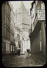 Glass Magic Lantern Slide FRENCH STREET SCENE NO1 C1890 FRANCE PHOTO ROUEN ?