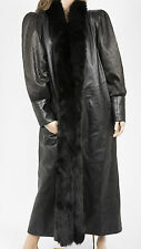 Dero Long Black Lambskin Leather Coat Fox Fur  L- XL