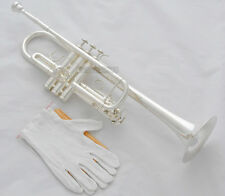 Prof. New Silver Plated C Keys Trumpet Horn Monel valves With Case