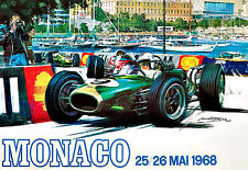 MONACO  1968  Grand Prix  Motos Automobile Car Race  Deco Auto  Poster Print