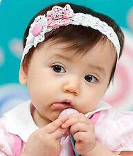 sehr süßes Baby-Haarband mit zwei Blümchen, rosa/weiß!