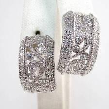 Sterling Silver Clear CZ Scroll Half Hoop Earrings