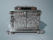 Antique Tea Caddy - Neoclassical Armoire Furniture Box - Dutch Silver