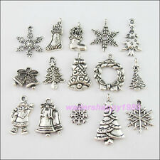 30Pcs Mixed Lots of Tibetan Silver Tone Christmas Charms Pendants