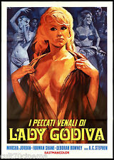 I PECCATI VENALI DI LADY GODIVA MANIFESTO CINEMA FILM 1969 SEXY MOVIE POSTER 2F