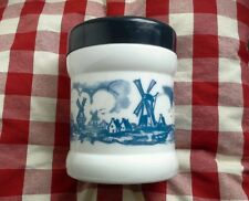 Bleu & blanc opaline/milk glass dutch cigar jar/humidor windmill design