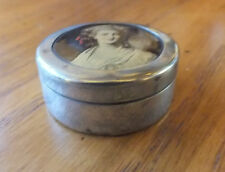 Small Vintage EPNS  box with a picture of a girl on the lid for pills snuff etc