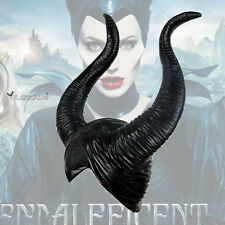 Halloween Cosplay Latex Maleficent Hat Horns Evil Black Queen Headpiece Headwear