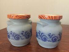 2 Vintage Canister Jar Tin Lid Wood Pattern Belgium Grey Blue Glass