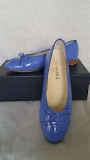 NIB CHANEL Classic Logo Bow Flats Patent Leather Blue 37.5 7.5 Ballerina Cap Toe
