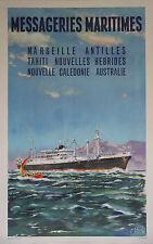 """""""MESSAGERIES MARITIMES"""" Affiche originale entoilée  J. DES GACHONS 1958"""