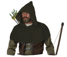 Adults Olive Green Medieval Archers Cowl Fleece Arrow Hood Sherwood Forest