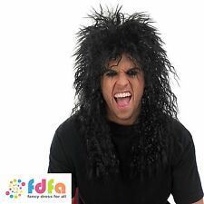 MENS LONG RETRO ROCK N ROLL KISS SLASH FRIZZY PUNK WIG  - mens fancy dress