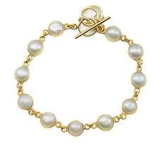 White Button Pearl Bracelet 14k Gold Filled Adjustable 7 8 Inch Bezel Set Luster