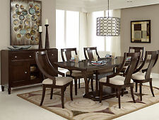 CARRIE-7pcs Transitional Walnut Brown Rectangular Dining Room Table & Chairs Set