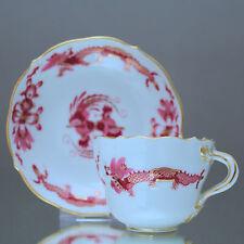 Meissen: Mokkatasse reicher Hofdrache goldgeschuppt Espressotasse purpur pink