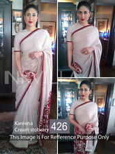 New Party Wear White Georgette Embroidery Designer Bollywood Style Saree