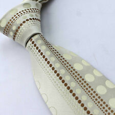 YIBEI Ties Novelty Beige Tan Dots Stripes Necktie Classic Mens Neck Tie 8.5cm