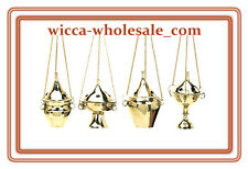 Lot of 4 Hanging Brass Censer Incense Charcoal Cone Resin Burner FREE SHIP !
