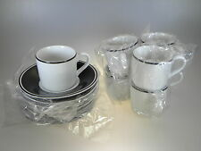 Royal Worcester Classic Black Demi or Espresso Cups & Saucers Set of 7